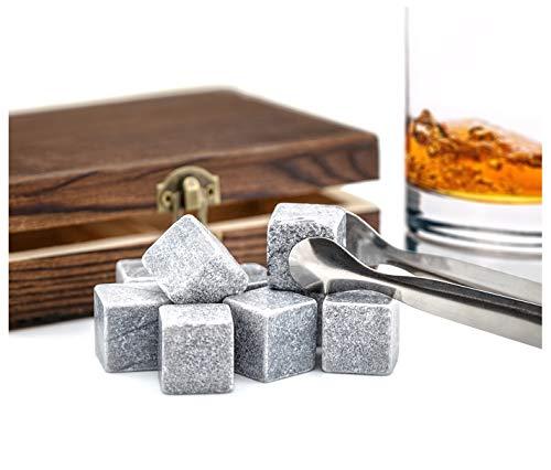 PRECORN Whisky-Steine in Holzbox Speckstein f. Getränke Eiswürfel Kühlsteine Premium Selection Marke