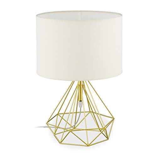 Relaxdays Lámpara para mesita de noche, lámpara de alambre con pantalla de tela, E27, lámpara de mesa vintage, metal, altura 44 x 30,5 cm, color blanco/dorado 10034191