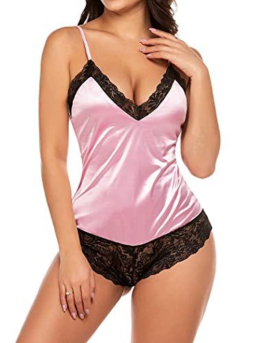 Avidlove Women Bodysuit Lingerie Satin Romper Teddies Sexy Nighter (Pink,S)