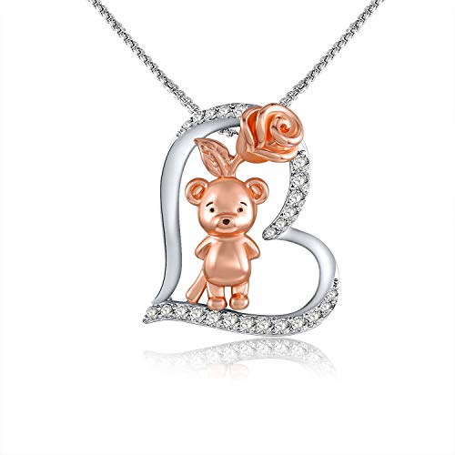 """""""Rose & Bear"""" Girlfriend Birthday Gift Love Heart Pendant Necklace for Women Silver Tone Rose Flower Pendant Jewelry Gifts for Mother/Wife/Sister/Daughter"""