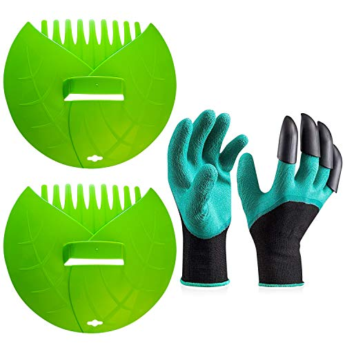 Lilly Bug Pair of Leaf Scoops Yard Hand Rake Ergonomic Heavy Duty Plastic Durable Green with Gardening Gloves