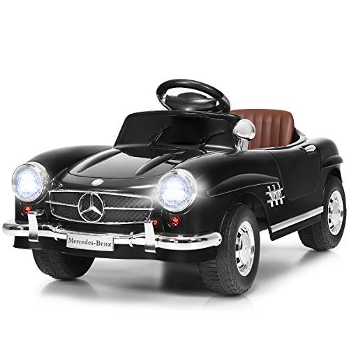 Costzon Ride On Car, Licensed Mercedes Benz 300SL, 6V Battery Powered Kids Vehicle with Parent Remote Control, Safety Belt, Lights, Music, MP3, Volume Control, Electric Vehicle for Boys & Girls, Black