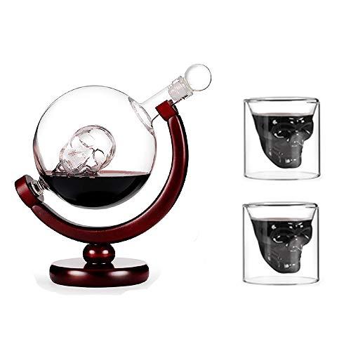 UKE Cráneo De Cristal Jarra del Vino, Vino Grande Cráneo Decanter 800Ml con El Soporte De Madera 100% Sin Plomo De Vidrio Utilizados para El Vino Regalos Y Accesorios del Vino,C