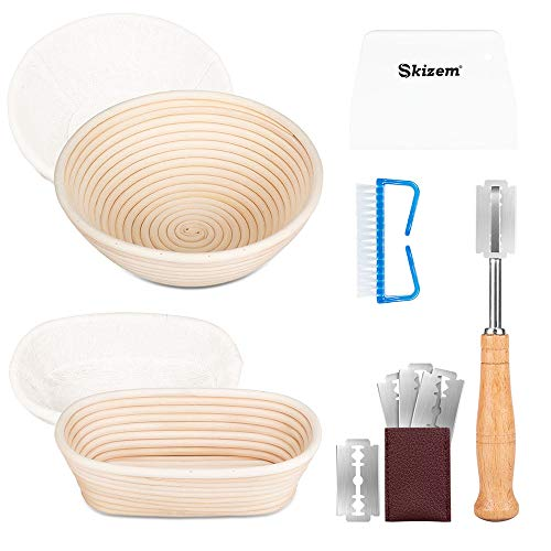 Skizem Banneton Bread Proofing Basket- 9 inch Round + 10x6 inch Oval Sourdough Baking Bowl + Premium Bread Lame 5 Blades+Dough Scraper+Linen Liner Cloth +Cleaning Brush for Professional & Home Bakers
