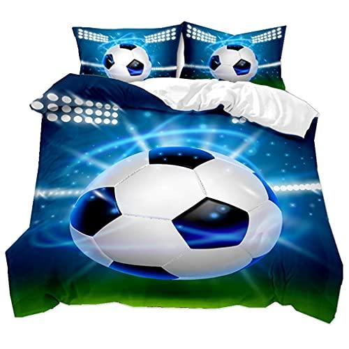 Ropa de Cama 3D Fútbol Patrón Funda nórdica y Funda de Almohada Juego de Cama Niños Chico Juventud (Fútbol 2, 180x220 cm - Cama 105 cm)