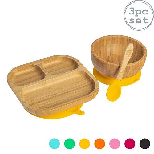 Tiny Dining Kinder Bamboo Geschirr Set - Teller, Schüssel, Löffel mit Aufenthalt Put Saug - Gelb