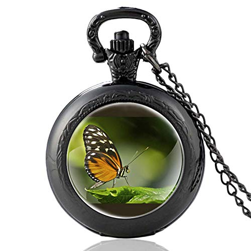 XTQDM Pocket watch,Butterfly On Green Leaf Pattern Bronze Vintage Quartz Pocket Watch Charm Men Women Charm Pendant Necklace Hours Clock Gifts Black