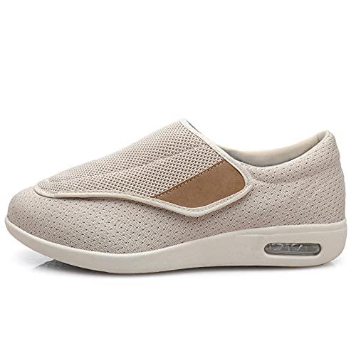 Velcro CóModa Artritis Edema Zapatos Hinchados,Hombre Ajustable De Velcro Zapatillas OrtopéDica-Beige_44,Zapatillas DiabéTicas Zapatos Extra Anchos