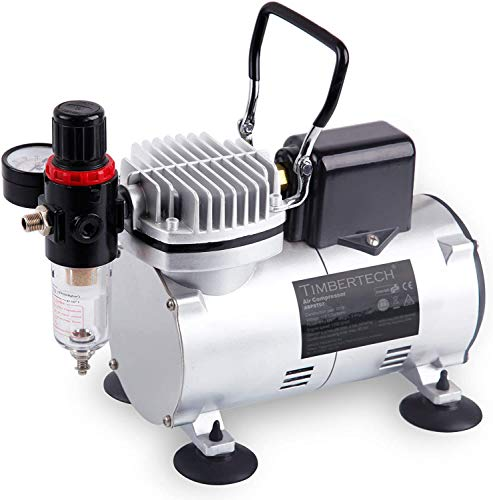 Timbertech Professional Upgraded Piston Airbrush Compressor with Motor Cool Down Fan ABPST07...
