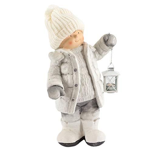 art decor Winterkind Junge mit Teelichthalter-Laterne, Höhe ca. 52cm, Wollmütze, beige
