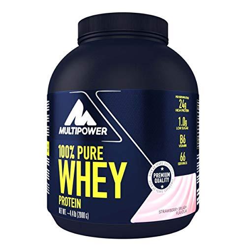 Multipower 100{67de895143cade8936aa25feac8126e30235d01fb756cced7686b695548ab623} Pure Whey Protein – wasserlösliches Proteinpulver mit Erdbeer Geschmack – Eiweißpulver mit Whey Isolate als Hauptquelle – Vitamin B6 und hohem BCAA-Anteil – 2 kg