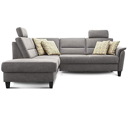 Cavadore Ecksofa Palera mit Federkern / L-Form Sofa mit Ottomanen links / 236 x 89 x 212 / Büffellederoptik Hellgrau