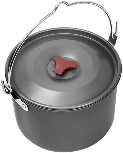 Jooyouo-TH Camping Pots & Pans Kamp Kookgerei Buiten Aluminium Pot Soeppot Hangende Pot Camping Kookgerei Marcheren Waterpot Kaphout 4L Enkele Pot 3-5 Mensen Picknick Pot