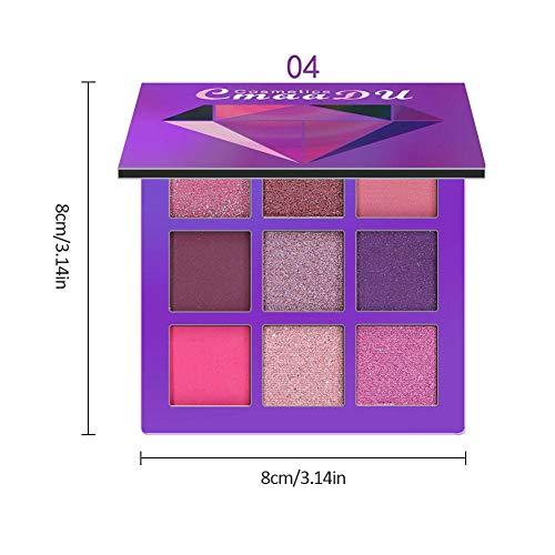 ZFXXN Palette d'ombres à paupières 9 Couleurs Palette Fard à paupières, Tapis imperméable Shimmer Ombre à paupières Palette de Maquillage