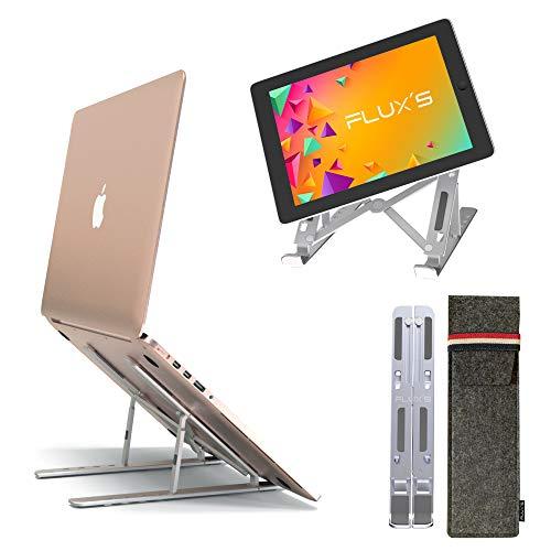 FLUX'S Soporte para Portátil Plegable de Mesa, ángulo Ajustable, de Aluminio con protección de Silicona. Mejora la Postura y refrigera el Ordenador. para Tablet, teléfonos y Libros, Incluye Funda