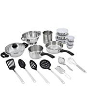 Solimo Stainless Steel Cookware Set, Set Of 25, Silver