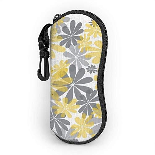 Estuche para gafas con mosquetón, amarillo y gris flor ultra ligera portátil neopreno cremallera gafas de sol funda suave