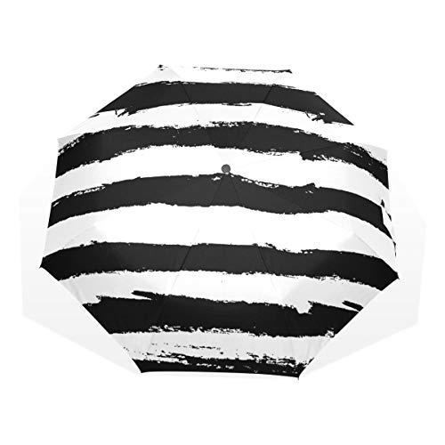 Regenschirm für Sonnenschutz Schwarz-Weiß-Streifen Moderne 3-Fach Kunstschirme (Außendruck Mädchen Regenschirme für Regenreisen Herren Regenschirm Regenschirm Winddicht Leichtgewicht