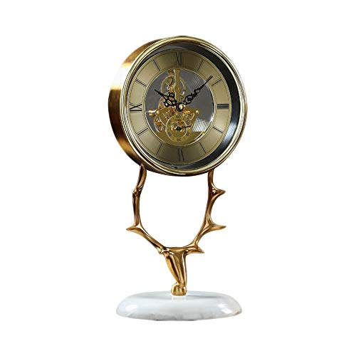 YoLiy Mantel Clocks Creative Mechanical Clock Pure Copper Deer Head Clock Living Room Desktop Creative Clocks Desktop Clock Decoration Gift Table Decor Ornament