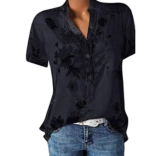 POPLY Damen größe top print tasche kurzarm bluse bohemian hemd schwarz s