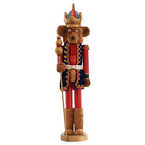 tanbea-UK Cascanueces de madera con diseño de oso soldado cascanueces en el soporte, cascanueces, soldado, marionetas, adornos de muñecas, juguetes de Navidad |