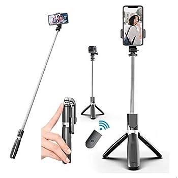 Aophire Wireless Selfie Stick Tripod,39.3 inch Extendable Travel Selfie Stick Phone Tripod with Detachable Wireless Remote