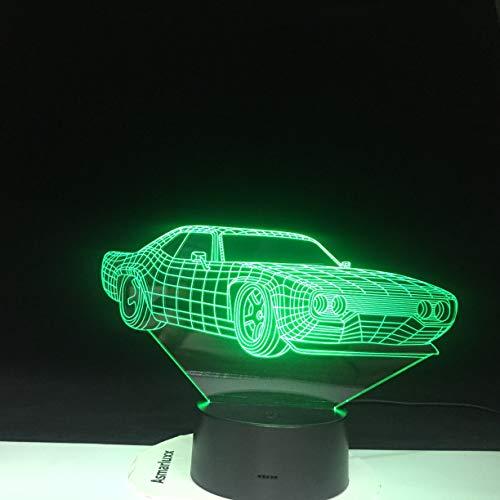 lampara 3D Pared Vehículo con Forma de Coche 7 Cambios de Color Interruptor táctil y Remoto Navidad