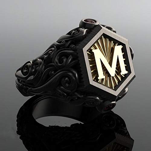 Feeyond Bohemian Vintage Black M Letter Men's Ring Personality Ladies Hip Hop Party Unique Steampunk Motorcycle Ring,8