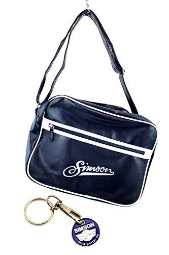 Simson Umhängetasche - Retro Tasche mit Reißverschluss und Schultergurt und Simson Anhänger mit Einkaufschip