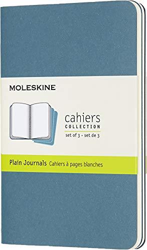 Moleskine - Cahier Journal - Ensemble de 3 Carnets avec Pages à Pages Blanches - Couverture en Carton et Piqûres de Coton Apparentes - Couleur Vert D'Eau - Taille Format de Poche 9 x 14 cm - 80 Pages