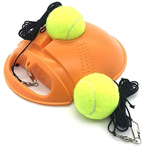 Top Tennis Trainer Rebound Ball - 2020 Model - Solo Tennis Practice Trainer Gear - #1 Complete Tennis Training Exercise Ball Equipment Kit with 2 Return Elastic Strings, 2 Balls & Sturdy Base (Orange)