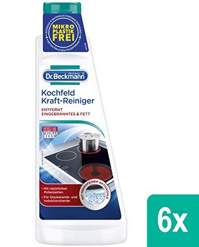 Dr. Beckmann Kochfeld Kraft-Reiniger | Glaskeramik-Reiniger gegen Eingebranntes und Fett | mit natürlichen Polierperlen und Aktivkohle (6x 250 ml)