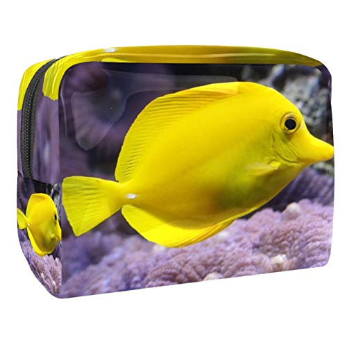 Portable Makeup Bag with Zipper Travel Toiletry Bag for Women Handy Storage Cosmetic Pouch Bright Yellow Fish