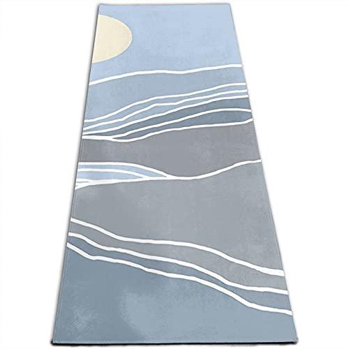 Esterilla de yoga con estampado de montañas abstractas y sol de 5 mm de grosor, antideslizante, para todo tipo de yoga, pilates y ejercicios de suelo (180 x 61 x 0,5 cm)