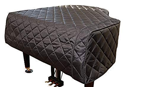 CUSTOM MADE PIANO COVERS/Baby Grand Piano Cover Quilted Black (Fits 5'0' to 5'2') | Grand Piano Cover - Custom Made | Bundle with L&L Design Piano-Table Topper (2 Items)
