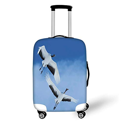 Travel Luggage Cover Suitcase Protector,Bird,Two Red Crowned Crane with Open Wings Flying in Clear Sky Japanese Animal Duo,Blue White Black,for Travel,M