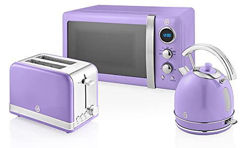 Swan Retro 3 Piece Appliance Set, Includes Swan Retro Dome Kettle, 2 Slice Toaster and Microwave Set in Purple, Retro Design, Chrome Details, Substantial Capacity, STRP2070PURN