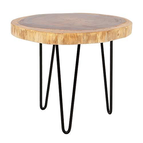 LEBENSwohnART Beistelltisch Gordo-M Natural Suar Couchtisch Tisch Baumkante Handarbeit