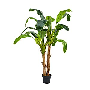 "Pure Garden Artificial Banana Leaf Tree-72"" Double Trunk Style Faux Plant in Sturdy Realistic Indoor Potted Topiary-Home Décor"
