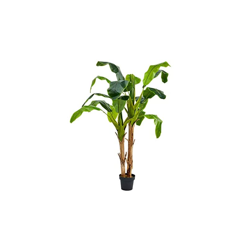 """silk flower arrangements pure garden artificial banana leaf tree-72"""" double trunk style faux plant in sturdy realistic indoor potted topiary-home décor"""