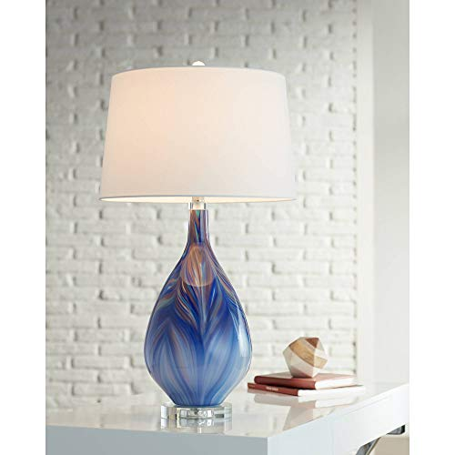 Taylor Modern Table Lamp Teardrop Blue Swirl Art Glass Tapered Drum Shade for Living Room Bedroom Bedside Nightstand Office Family - Possini Euro Design