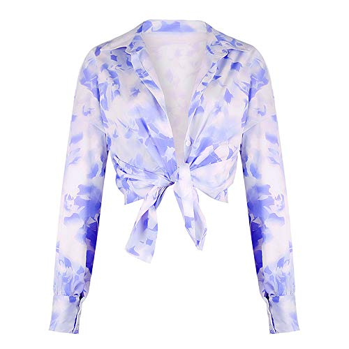 NOBRAND New Beauty Explosion Models Printed Long Sleeve Revers Shirt Gr. Small, blau