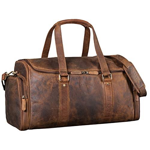 STILORD 'Myles' Vintage Reisetasche Herren Leder Weekender zum Umhängen Overnight Duffle Bag Großes Reisegepäck XL echtes Rindsleder, Farbe:mittel - braun