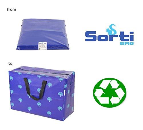 Sorti - Bolsa gigante XL fabricada con material reciclado para almacenar ropa, juguetes, colada, etc.Gran tamaño, profundidad extra, diseño de árboles color azul 127 l. 54 x 74 x 32cm.