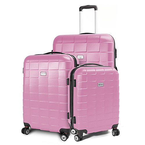 BERWIN® Kofferset 3-teilig Reisekoffer Koffer Trolley Hartschalenkoffer ABS Teleskopgriff Modell Squares (Rosa)