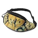 Bolsa de cintura para pintura de acuarela con agujero para auriculares, riñonera para hombres y mujeres con correa ajustable para exteriores