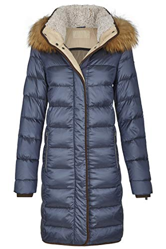 MILESTONE Damen Daunenmantel Steppmantel Winter Mantel Gesteppt Lila Bordeaux Navy Blau Olive Grün Schwarz Kapuze mit Echtfellbesatz Tailliert Gr. 36-48 (44, Marine)