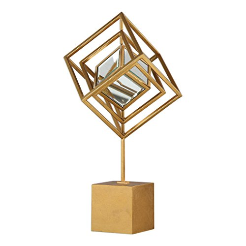 MY SWANKY HOME Elegant Luxe Gold Cube Cage Sculpture |...