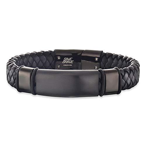 SAVE BRAVE Armband Roma I Edelstahl I IP I Leder schwarz I 21 cm