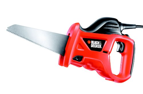 BLACK+DECKER KS880EC-QS Scie à main filaire, Vitesse variable de 0 à 4600 crs/min - 1 lame 400W, Noir, Rouge, 10 mm